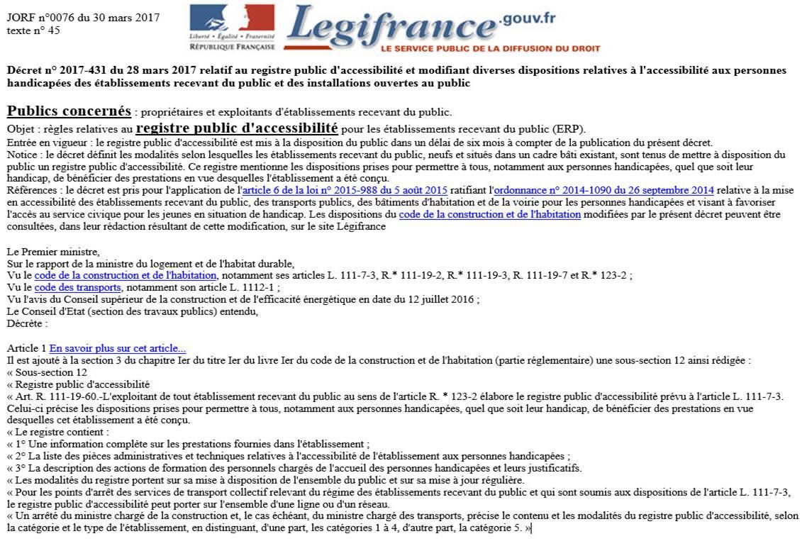 décret n° 2017-431 du 28 mars 2017 relatif au registre public d'accessibilité