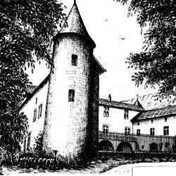 Dessin à l'encre du chateau de FAYET